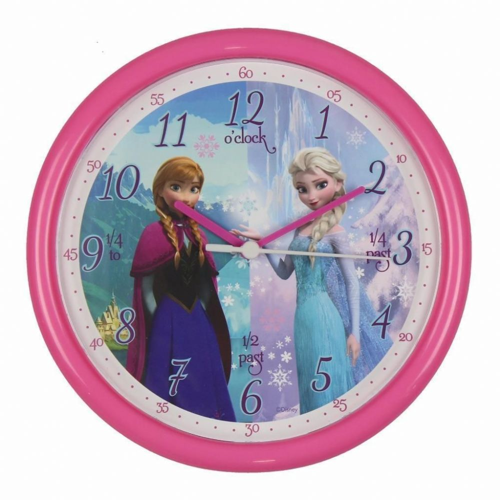 "Disney Frozen ""Tell The Time"" Elsa & Anna Pink Wall Clock For Children"